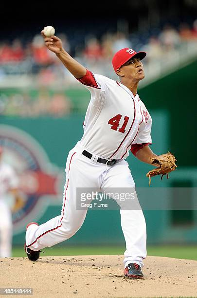 Joe Ross of the Washington Nationals pitches in the first inning against the San Diego Padres at Nationals Park on August 27 2015 in Washington DC