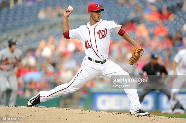 Joe Ross of the Washington Nationals pitches in the first inning against the St Louis Cardinals at Nationals Park on May 26 2016 in Washington DC