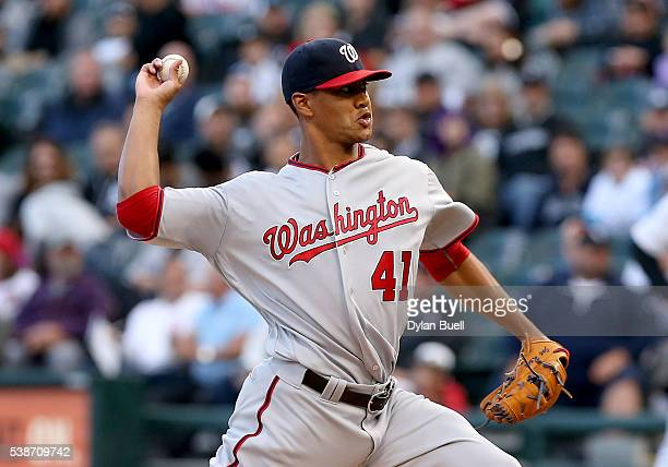 Joe Ross of the Washington Nationals pitches in the first inning against the Chicago White Sox at US Cellular Field on June 7 2016 in Chicago Illinois