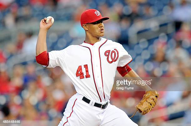 Joe Ross of the Washington Nationals pitches in the second inning against the San Diego Padres at Nationals Park on August 27 2015 in Washington DC