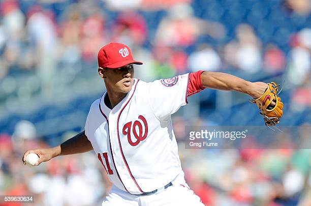 Joe Ross of the Washington Nationals pitches in the second inning against the Philadelphia Phillies at Nationals Park on June 12 2016 in Washington DC