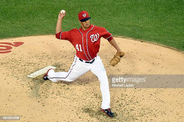Joe Ross of the Washington Nationals pitches in the third inning during a baseball game against the Milwaukee Brewers at Nationals Park on August 22...