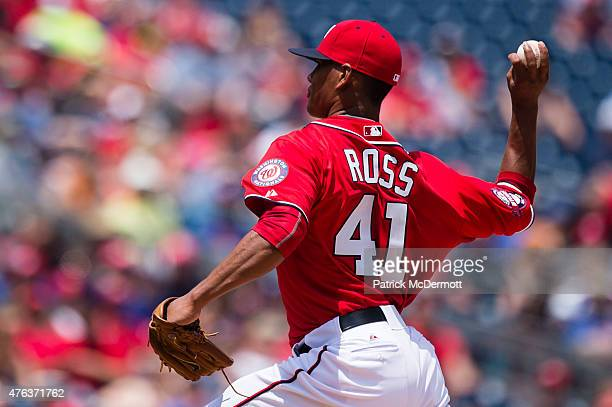 Joe Ross of the Washington Nationals throws a pitch to a Chicago Cubs batter in the fourth inning during a baseball game at Nationals Park on June 6...