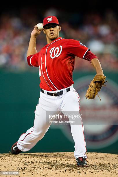 Joe Ross of the Washington Nationals throws a pitch to a Milwaukee Brewers batter in the third inning of a baseball game at Nationals Park on August...