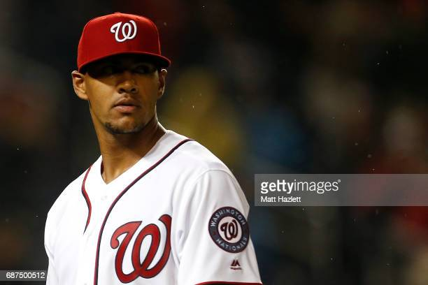 Joe Ross of the Washington Nationals walks off of the field against the Seattle Mariners during the eighth inning at Nationals Park on May 23 2017 in...