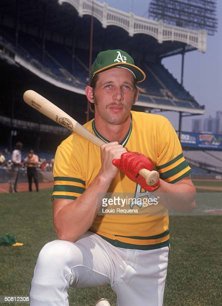 Joe Rudi of the Oakland Athletics poses for a portrait at Yankee Stadium in the Bronx New York Rudi played for the A's from 19681976