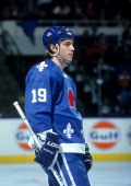 Joe Sakic of the Quebec Nordiques looks on during an NHL game against the New York Islanders on December 31 1990 at the Nassau Coliseum in Uniondale...