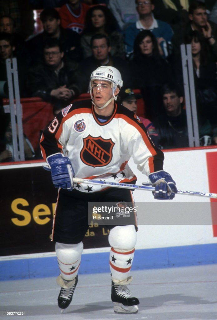 <a gi-track='captionPersonalityLinkClicked' href=/galleries/search?phrase=Joe+Sakic&family=editorial&specificpeople=202869 ng-click='$event.stopPropagation()'>Joe Sakic</a> #19 of the Wales Conference and the Quebec Nordiques skates on ice during the 1993 44th NHL All-Star Game against the Campbell Conference on February 6, 1993 at the Montreal Forum in Montreal, Quebec, Canada. The Wales Conference defeated the Campbell Conference 16-6.