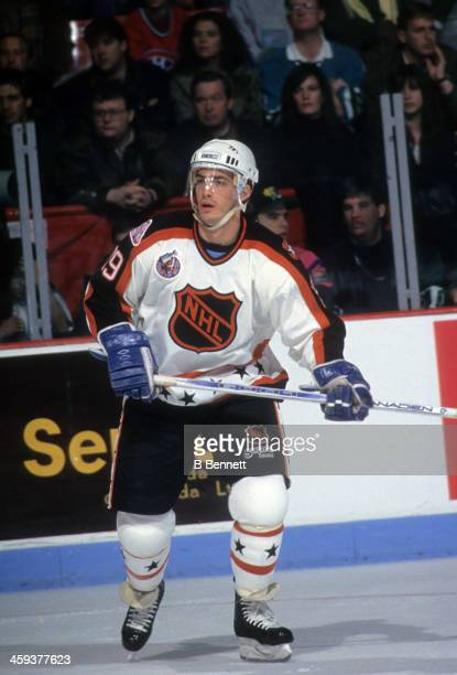 Joe Sakic of the Wales Conference and the Quebec Nordiques skates on ice during the 1993 44th NHL AllStar Game against the Campbell Conference on...