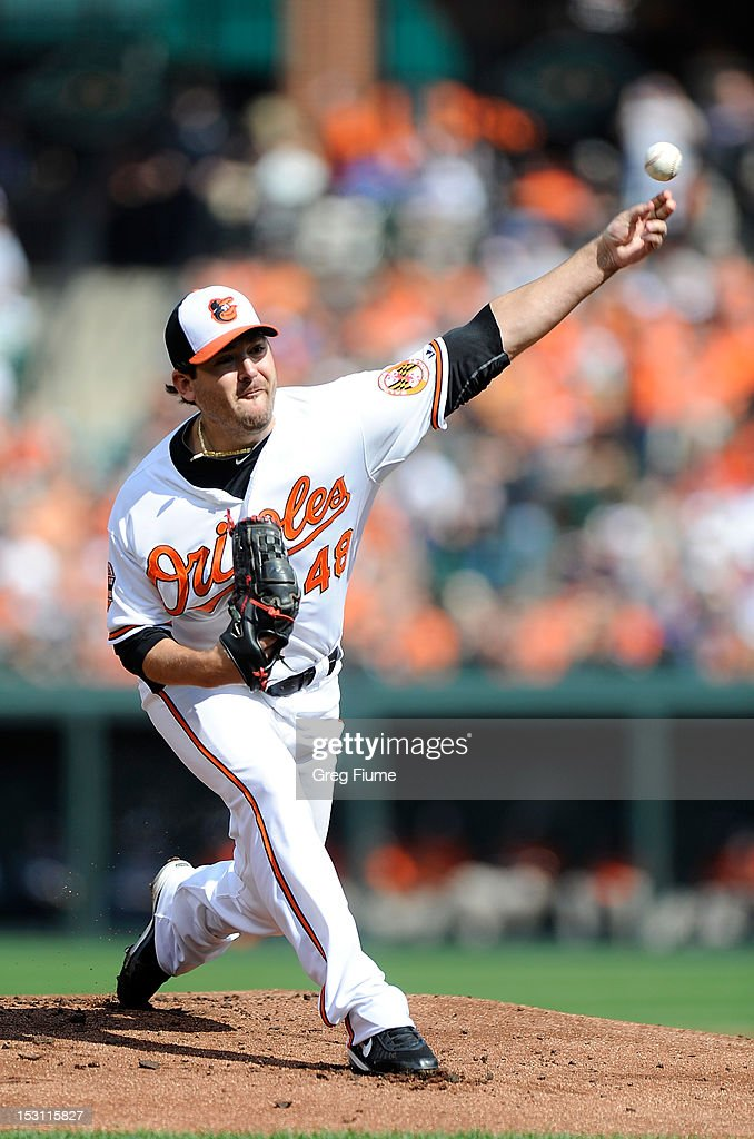 <a gi-track='captionPersonalityLinkClicked' href=/galleries/search?phrase=Joe+Saunders&family=editorial&specificpeople=835979 ng-click='$event.stopPropagation()'>Joe Saunders</a> #48 of the Baltimore Orioles pitches against the Boston Red Sox at Oriole Park at Camden Yards on September 30, 2012 in Baltimore, Maryland.