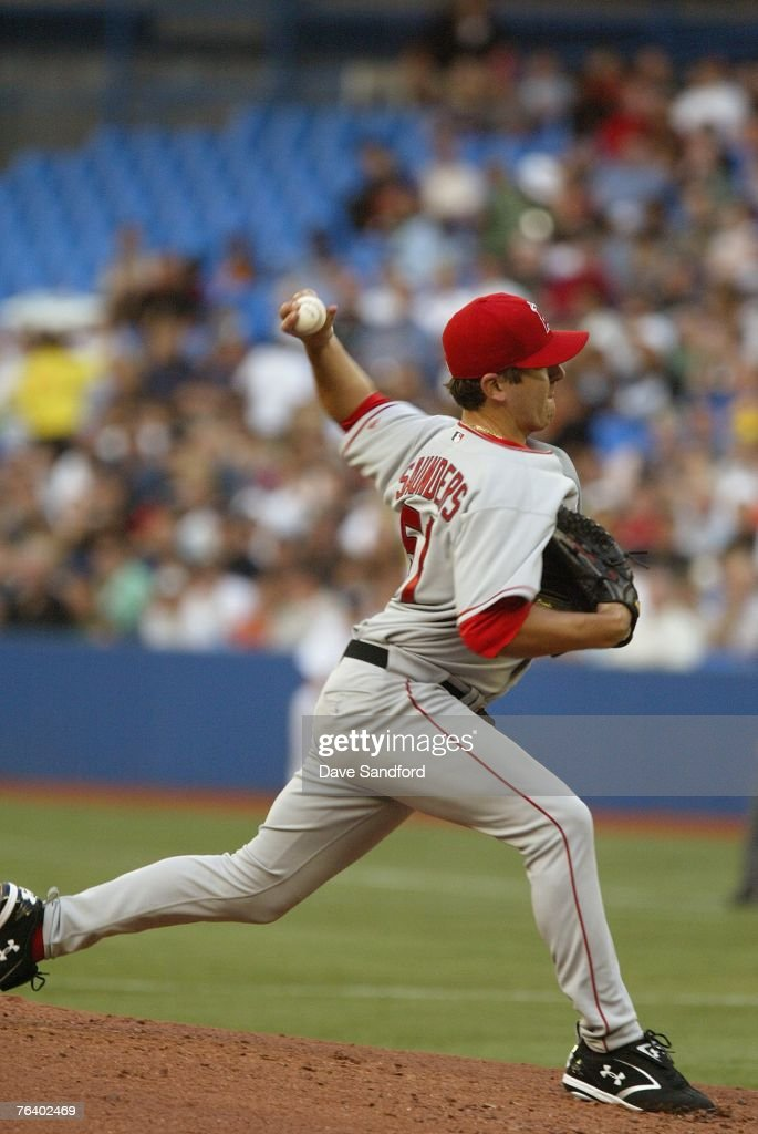 Joe Saunders #51 of the Los Angeles Angels of Anaheim pitches against the Toronto Blue Jays at Rogers Centre on August 14, 2007 in Toronto, Ontario, Canada. The Blue Jays won 4-1.