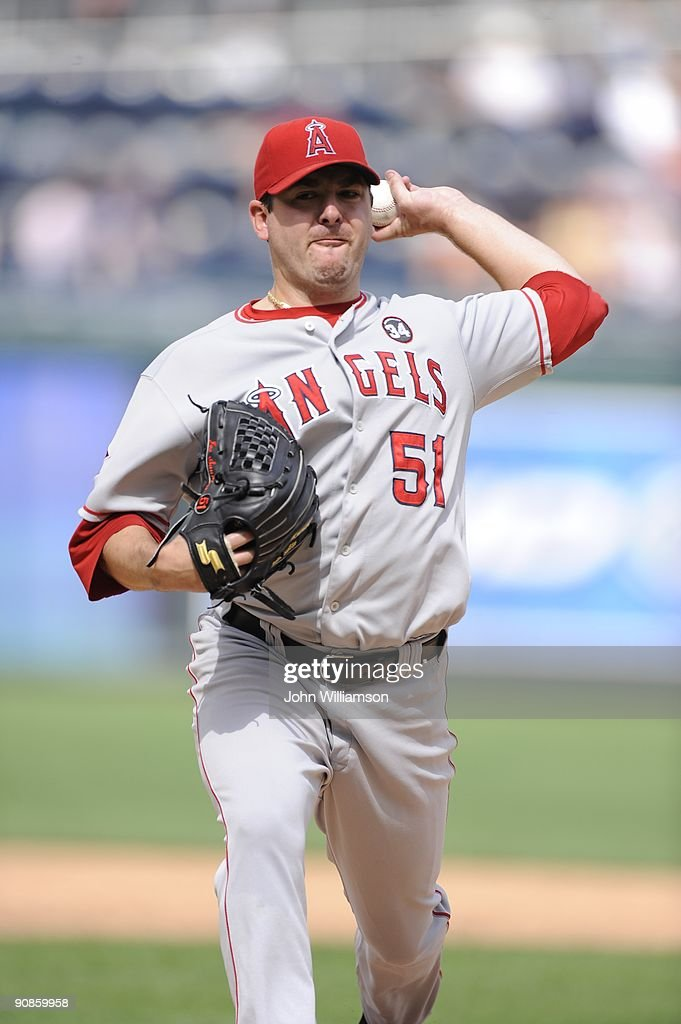 Joe Saunders #51 of the Los Angeles Angels of Anaheim pitches during the game against the Kansas City Royals at Kauffman Stadium in Kansas City, Missouri on Sunday, September 6, 2009. The Angels defeated the Royals 7-2.