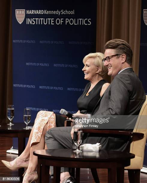 Joe Scarborough and Mika Brzezinski take part in 'The David Rubenstein Show PeerToPeer Conversations'at The National Archives on July 12 2017 in...
