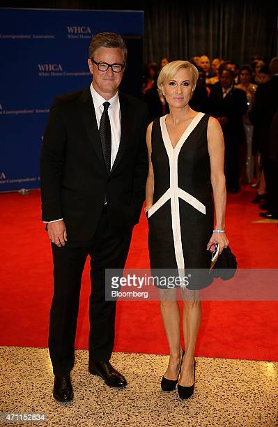 Joe Scarborough left and Mika Brzezinski arrive for the White House Correspondents' Association dinner in Washington DC US on Saturday April 25 2015...