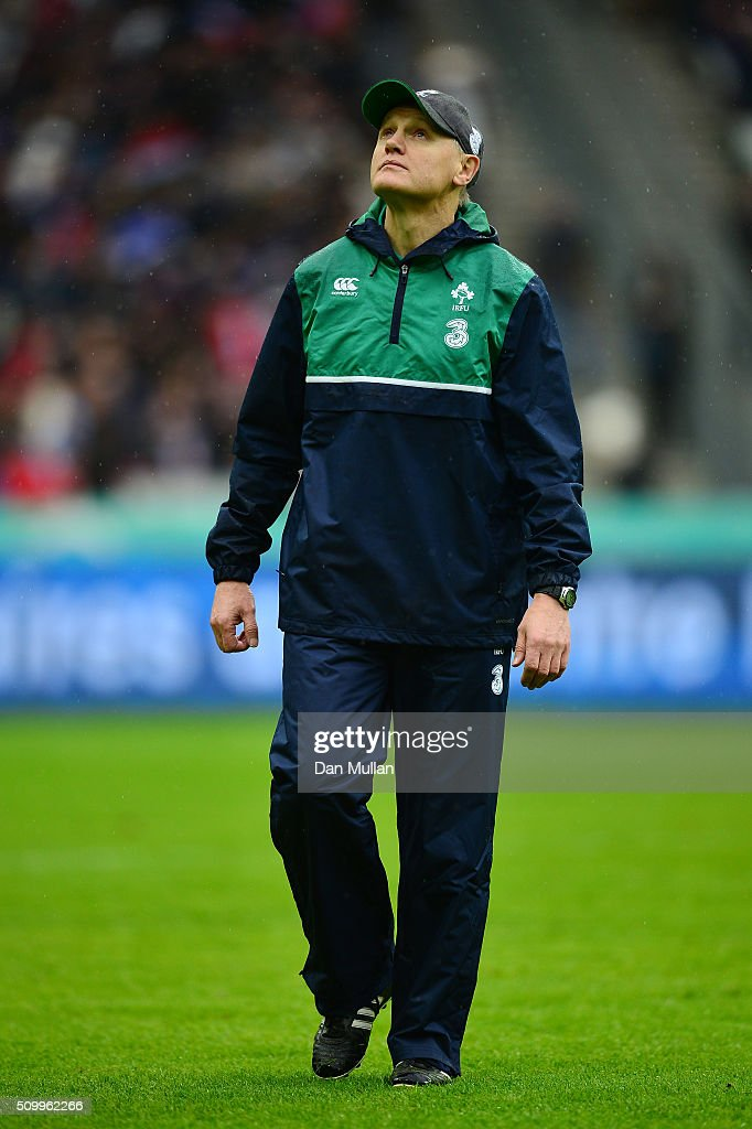 <a gi-track='captionPersonalityLinkClicked' href=/galleries/search?phrase=Joe+Schmidt+-+Rugby+Union+Coach&family=editorial&specificpeople=10877847 ng-click='$event.stopPropagation()'>Joe Schmidt</a> the head coach of Ireland looks on prior to kickoff during the RBS Six Nations match between France and Ireland at the Stade de France on February 13, 2016 in Paris, France.