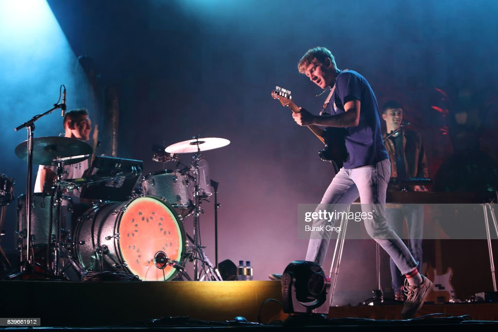 Joe Seaward, Dave Bayley and Edmund Irwin-Singer of Glass Animals perform on day of two of Reading Festival at Richfield Avenue on August 26, 2017 in Reading, England.