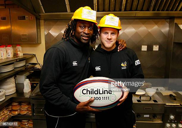 Joe Simpson and Paul Sackey of London Wasps pose for photos during a photo call to promote the ChildLine Guinness Premiership Kicking Bullying into...