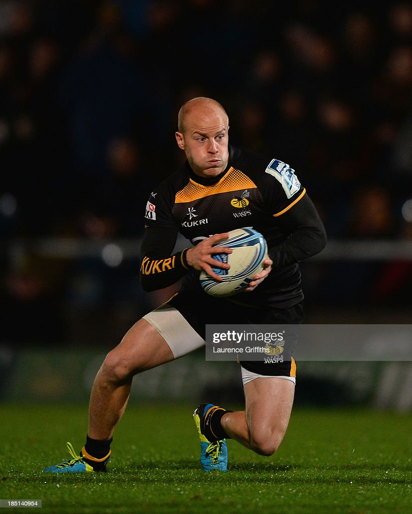 <a gi-track='captionPersonalityLinkClicked' href=/galleries/search?phrase=Joe+Simpson+-+Rugby+Union+Player&family=editorial&specificpeople=15126852 ng-click='$event.stopPropagation()'>Joe Simpson</a> of London Wasps in action during the Amlin Challenge Cup round two match between London Wasps and Bayonne at Adams Park on October 17, 2013 in High Wycombe, England.