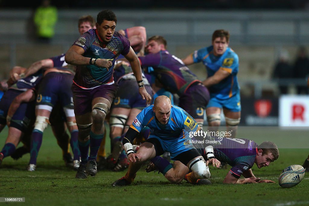 Joe Simpson (C)of London Wasps scrambles for possession of the ball alongside Toby Faletau (L) and Jonathan Evans (R) of Newport Gwent Dragons during the Amlin Challenge Cup Pool Three match between Newport Gwent Dragons and London Wasps at Rodney Parade on January 17, 2013 in Newport, Wales.