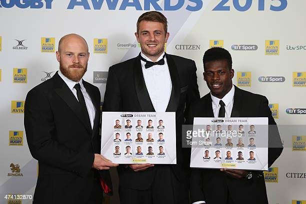 Joe Simpson of Wasps Dean Mumm of Wasps and Christian Wade of Wasps pose with the BT Sport Aviva Premiership Rugby Dream Team Award during the Aviva...