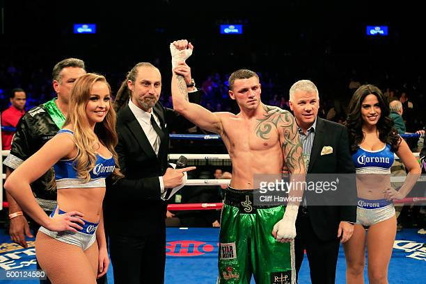 Joe Smith Jr celebrates defeating Will Rosinsky during their Light Heavyweight bout on December 5 2015 in the Brooklyn borough of New York City