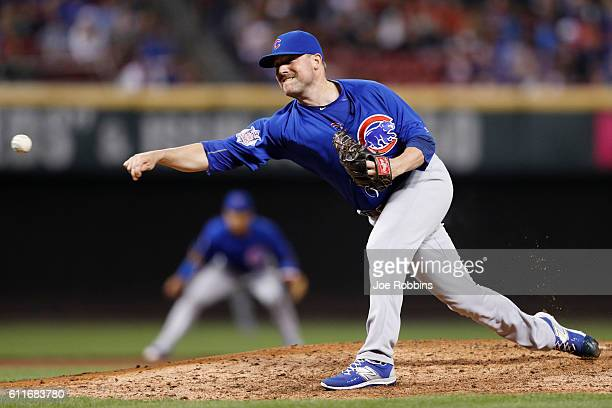 Joe Smith of the Chicago Cubs pitches in the seventh inning against the Cincinnati Reds at Great American Ball Park on September 30 2016 in...
