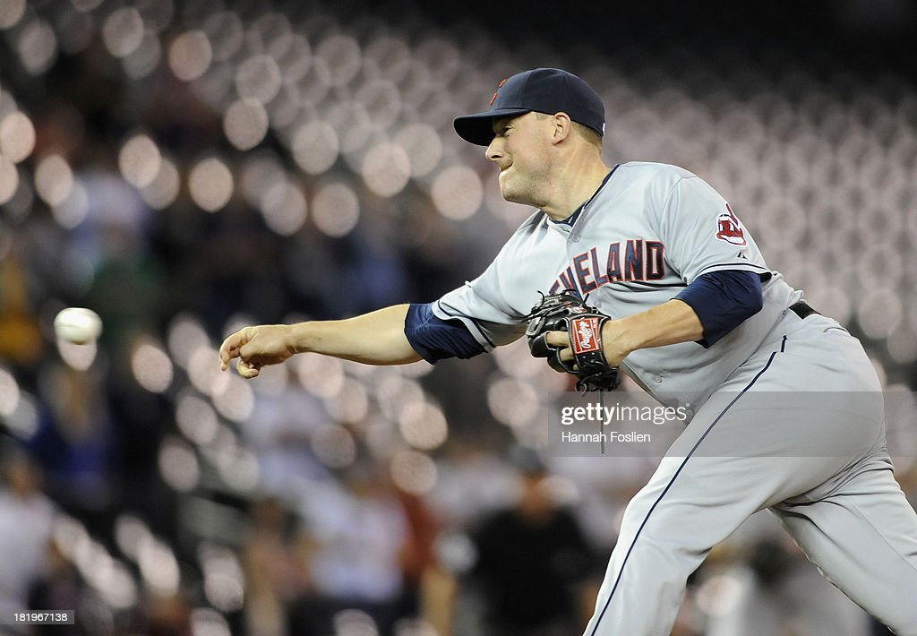 Joe Smith #38 of the Cleveland Indians delivers a pitch against the Minnesota Twins during the ninth inning of the game on September 26, 2013 at Target Field in Minneapolis, Minnesota. The Indians defeated the Twins 6-5.