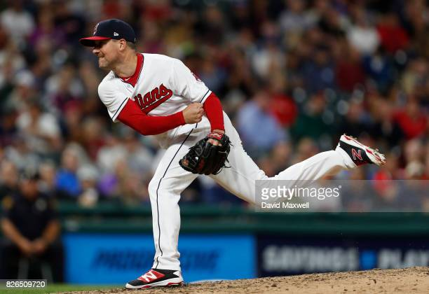 Joe Smith of the Cleveland Indians pitches against the New York Yankees in the eighth inning at Progressive Field on August 4 2017 in Cleveland Ohio