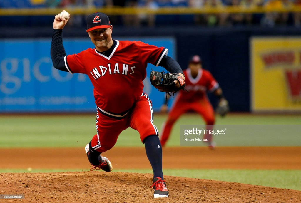 Joe Smith #38 of the Cleveland Indians pitches during the eighth inning of a game against the Tampa Bay Rays on August 12, 2017 at Tropicana Field in St. Petersburg, Florida.