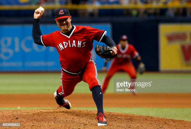 Joe Smith of the Cleveland Indians pitches during the eighth inning of a game against the Tampa Bay Rays on August 12 2017 at Tropicana Field in St...