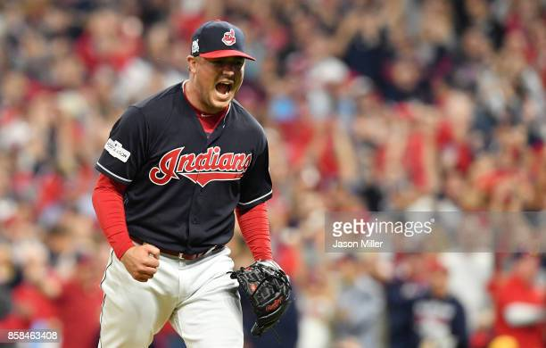 Joe Smith of the Cleveland Indians reacts after striking out Gary Sanchez of the New York Yankees in the ninth inning during game two of the American...