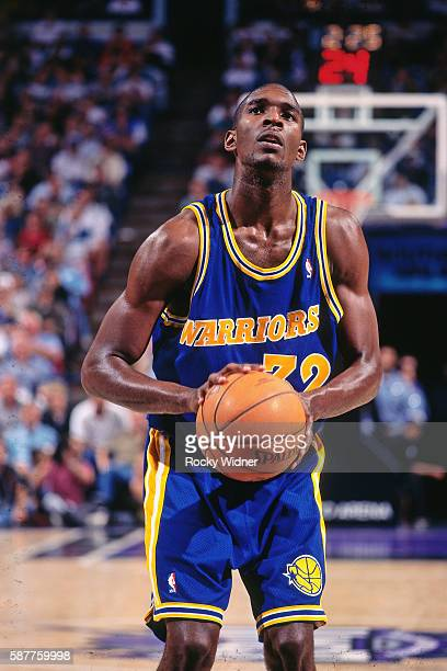 Joe Smith of the Golden State Warriors prepares to shoot a free throw against the Sacramento Kings circa 1996 at Arco Arena in Sacramento California...