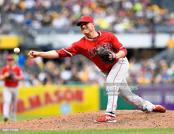 Joe Smith of the Los Angeles Angels of Anaheim delivers a pitch in the eighth inning during the game against the Pittsburgh Pirates at PNC Park on...