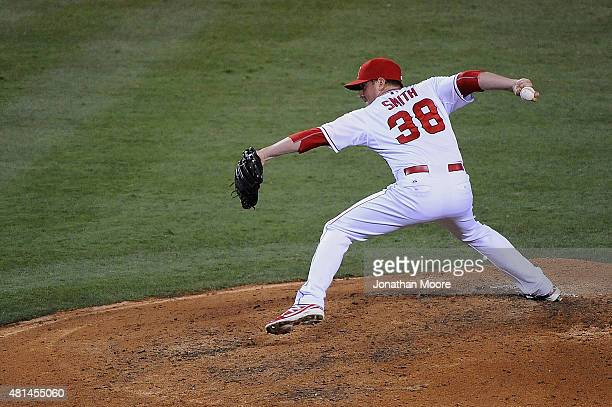 Joe Smith of the Los Angeles Angels of Anaheim pitches against the Boston Red Sox in the eighth inning during game two of a double header at Angel...