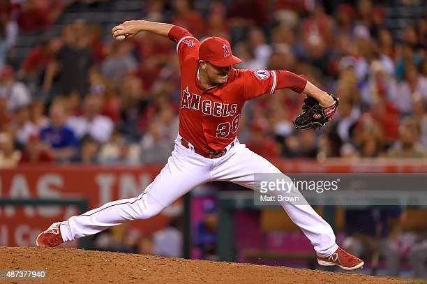 Joe Smith of the Los Angeles Angels of Anaheim pitches during the eighth inning of the game against the Texas Rangers at Angel Stadium of Anaheim on...
