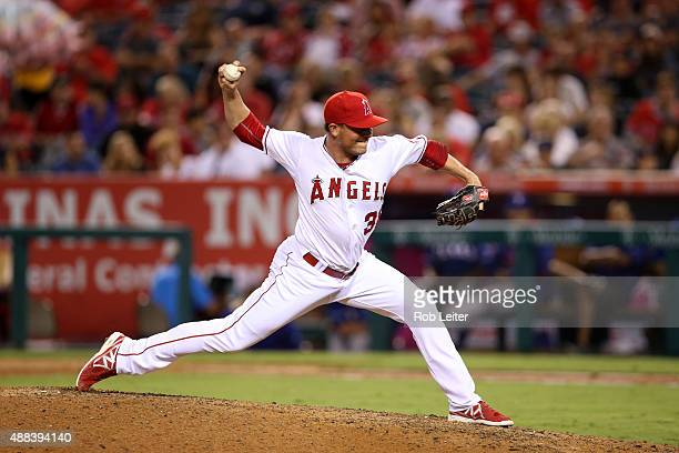 Joe Smith of the Los Angeles Angels of Anaheim pitches during the game against the Texas Rangers at Angel Stadium on September 5 2015 in Anaheim...