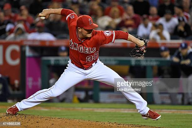Joe Smith of the Los Angeles Angels of Anaheim pitches in the tenth inning against the San Diego Padres at Angel Stadium of Anaheim on May 26 2015 in...