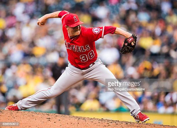 Joe Smith of the Los Angeles Angels pitches during the game against the Pittsburgh Pirates at PNC Park on June 4 2016 in PittsburghPennsylvania