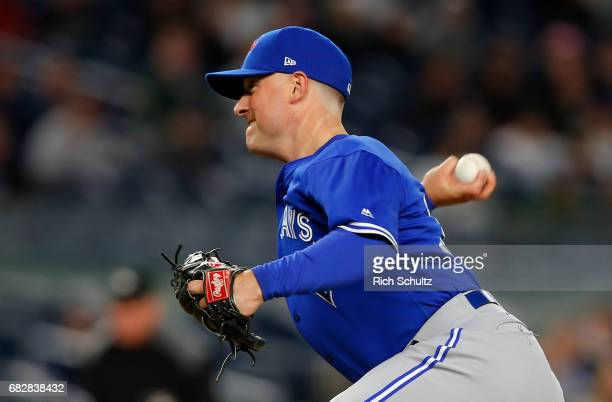 Joe Smith of the Toronto Blue Jays in action against the New York Yankees during a game at Yankee Stadium on May 3 2017 in New York City