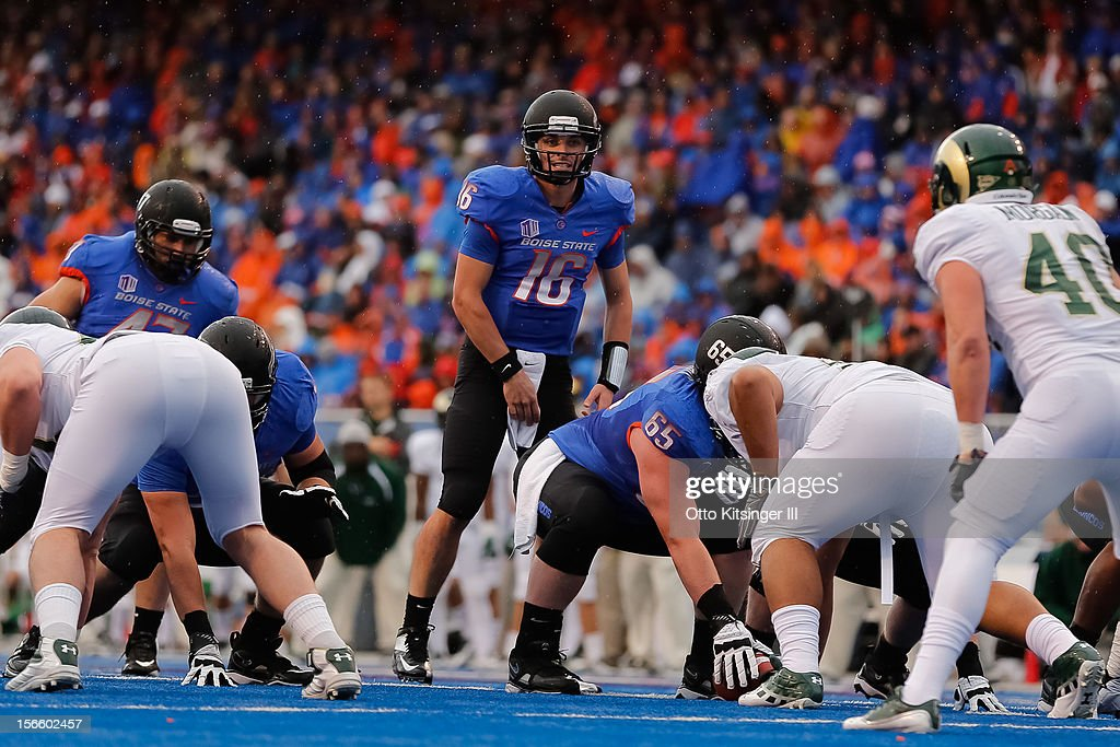 Joe Southwick of the Boise State Broncos calls a play against the Colorado State Rams at Bronco Stadium on November 17 2012 in Boise Idaho