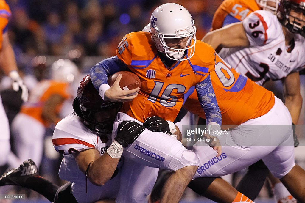 Joe Southwick of the Boise State Broncos is sacked by the San Diego State Aztecs at Bronco Stadium on November 3 2012 in Boise Idaho