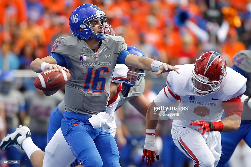 Joe Southwick of the Boise State Broncos look for a receiver against the Fresno State Bulldogs at Bronco Stadium on October 13 2012 in Boise Idaho