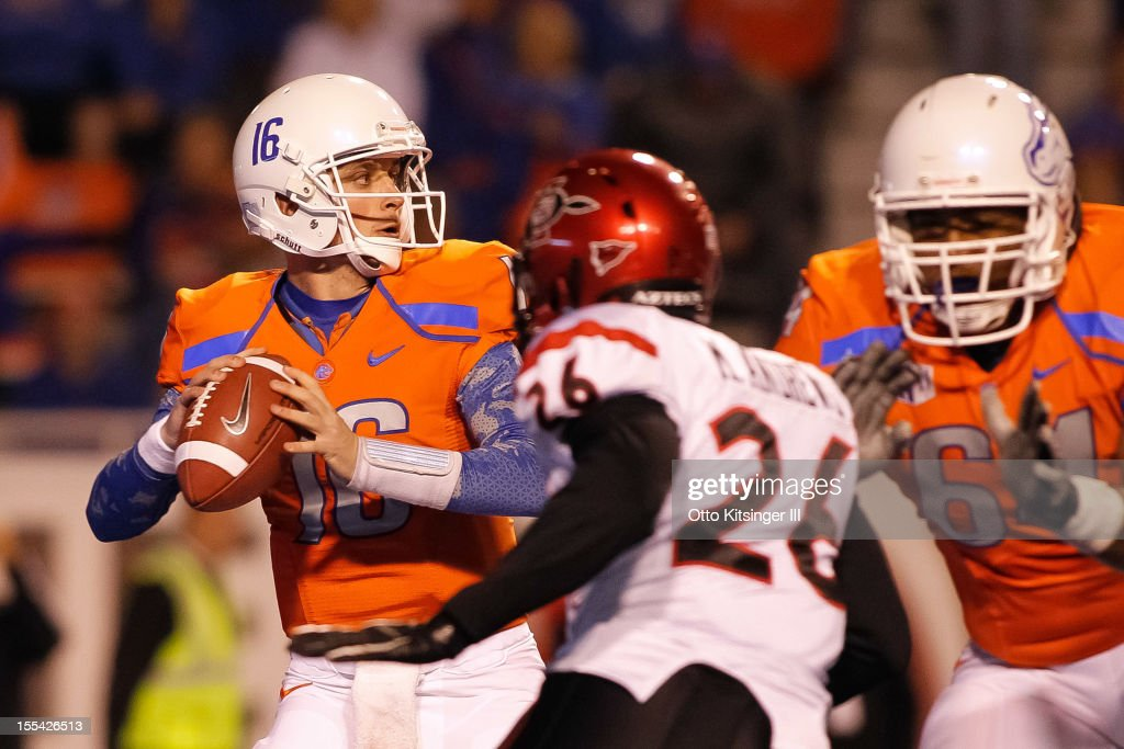 Joe Southwick of the Boise State Broncos looks for a receiver under pressure from the San Diego State Aztecs at Bronco Stadium on November 3 2012 in...