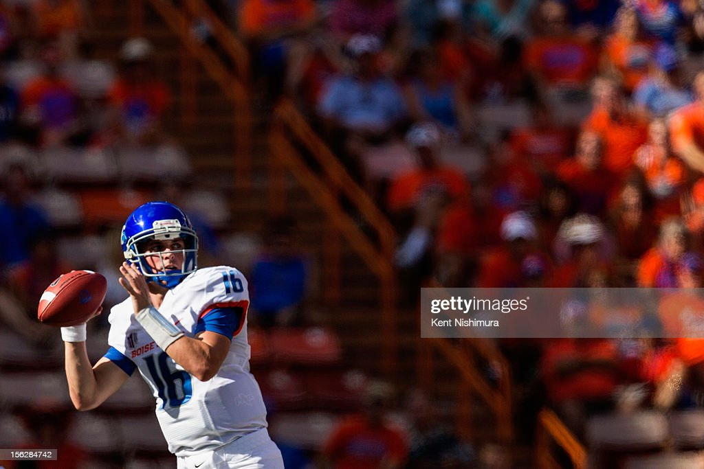 Joe Southwick of the Boise State Broncos looks to pass the ball during a NCAA college football game against the Hawaii Warriors on November 10 2012...