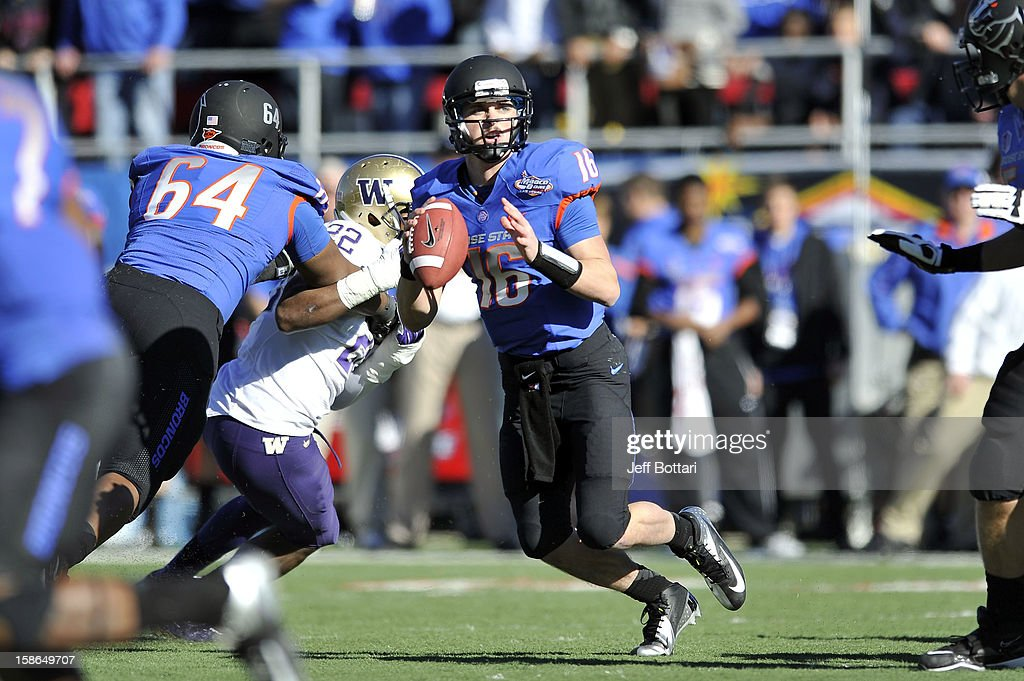 Joe Southwick of the Boise State Broncos looks to pass the ball upfield against the Washington Huskies during the MAACO Bowl Las Vegas at Sam Boyd...