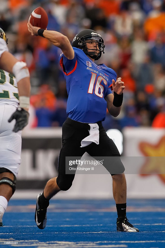 Joe Southwick of the Boise State Broncos passes against the Colorado State Rams at Bronco Stadium on November 17 2012 in Boise Idaho