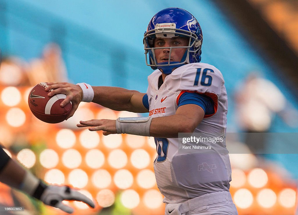 Joe Southwick of the Boise State Broncos passes against the Hawaii Warriors during a NCAA college football game on November 10 2012 at Aloha Stadium...