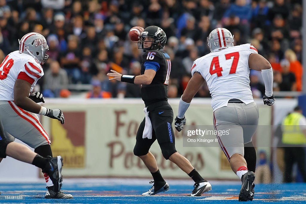 Joe Southwick of the Boise State Broncos passes against the UNLV Rebels at Bronco Stadium on October 20 2012 in Boise Idaho