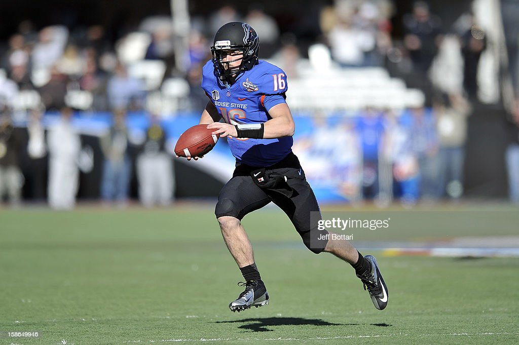 Joe Southwick of the Boise State Broncos runs down the field against the Washington Huskies during the MAACO Bowl Las Vegas at Sam Boyd Stadium...