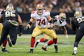 Joe Staley of the San Francisco 49ers blocks at the line of scrimmage in the first quarter of a game against the New Orleans Saints at MercedesBenz...